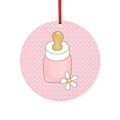 Pink Baby Bottle Ornament (Round)