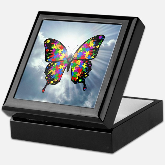 autism butterfly sky - square Keepsake Box
