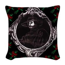 Phantom, (with Red Roses) Woven Throw Pillow