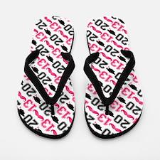 Pink Mustache Grad 2013 Flip Flops