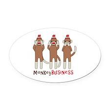 Monkey Business Oval Car Magnet