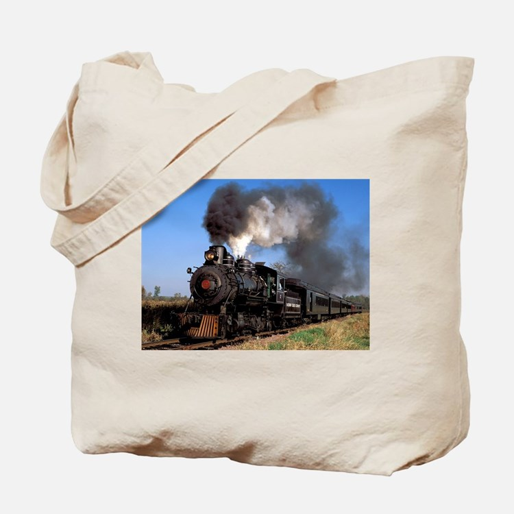 Antique steam engine train Tote Bag