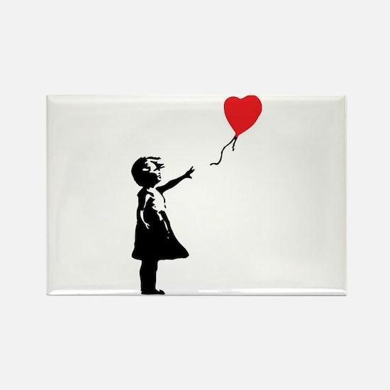 Banksy - Little Girl with Ballon Rectangle Magnet