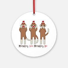 Monkey See Monkey Do Ornament (Round)