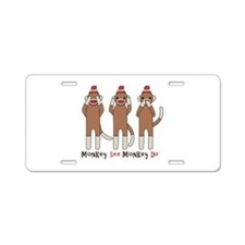 Monkey See Monkey Do Aluminum License Plate