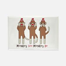 Monkey See Monkey Do Rectangle Magnet