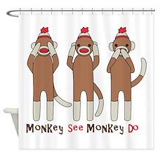 Monkey See Monkey Do Shower Curtain