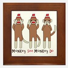 Monkey See Monkey Do Framed Tile