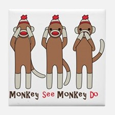 Monkey See Monkey Do Tile Coaster
