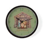 Christmas Blessings, Little Creche Wall Clock