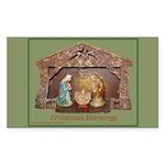 Christmas Blessings, Little Creche Sticker (Rectan