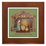Christmas Blessings, Little Creche Framed Tile