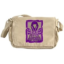 Hope Butterfly Pancreatic Cancer Messenger Bag