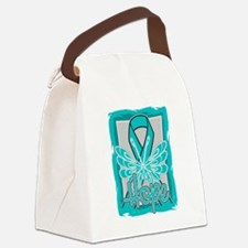 Hope Butterfly Ovarian Cancer Canvas Lunch Bag