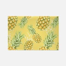 Tropical Pineapple on Pastel Yell Rectangle Magnet