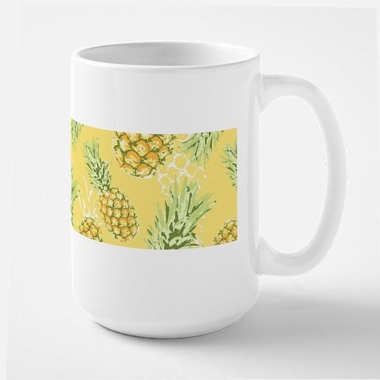 Tropical Pineapple on Pastel Yellow Large Mug