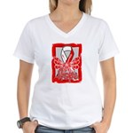 Hope Butterfly Oral Cancer Women's V-Neck T-Shirt