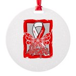 Hope Butterfly Oral Cancer Round Ornament