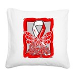 Hope Butterfly Oral Cancer Square Canvas Pillow