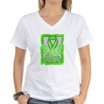 Butterfly Non-Hodgkins Lymphoma Women's V-Neck T-S