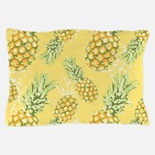 Tropical Pineapple on Pastel Yellow Pillow Case
