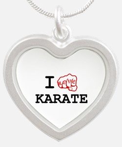I love Karate Silver Heart Necklace