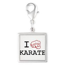 I love Karate Silver Square Charm