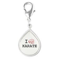 I love Karate Silver Teardrop Charm