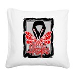 Hope Butterfly Melanoma Square Canvas Pillow