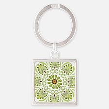 Green Mandala Square Keychain