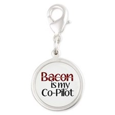 Bacon is my Co-Pilot Silver Round Charm