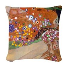 Gustav Klimt Water Serpents Woven Throw Pillow