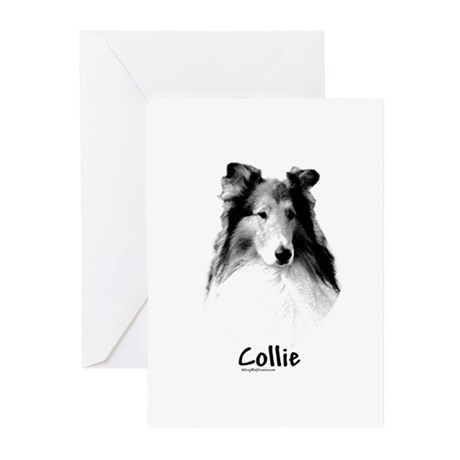 Rough Collie Charcoal Greeting Cards (Pk of 10