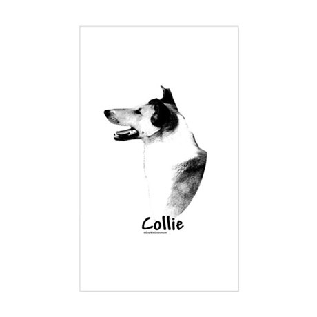 Smooth Collie Charcoal Rectangle Sticker