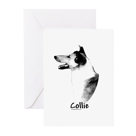 Smooth Collie Charcoal Greeting Cards (Package of