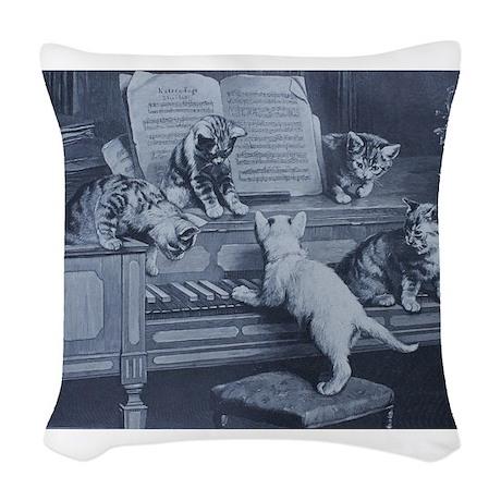 Kitty Tunes Woven Throw Pillow