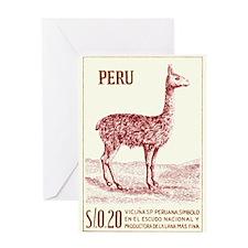 Antique 1953 Peru Vicuna Postage Stamp Greeting Ca