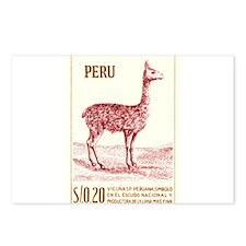 Antique 1953 Peru Vicuna Postage Stamp Postcards (