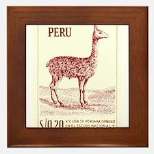 Antique 1953 Peru Vicuna Postage Stamp Framed Tile