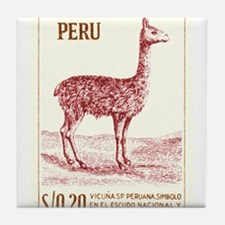 Antique 1953 Peru Vicuna Postage Stamp Tile Coaste