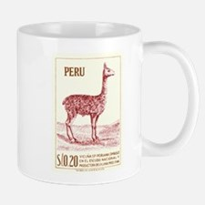 Antique 1953 Peru Vicuna Postage Stamp Mug