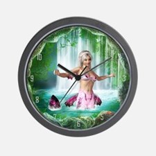 Pink Mermaid Wall Clock