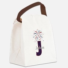 4th of July Fireworks letter J Canvas Lunch Bag