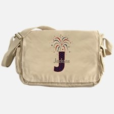 4th of July Fireworks letter J Messenger Bag