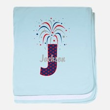 4th of July Fireworks letter J baby blanket