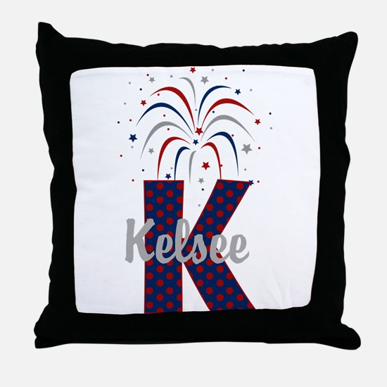 4th of July Fireworks letter K Throw Pillow