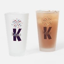 4th of July Fireworks letter K Drinking Glass