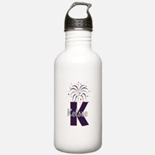 4th of July Fireworks letter K Water Bottle