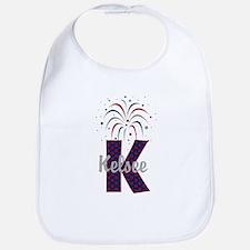 4th of July Fireworks letter K Bib