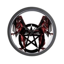 Red Dragons with Pentacle Wall Clock
